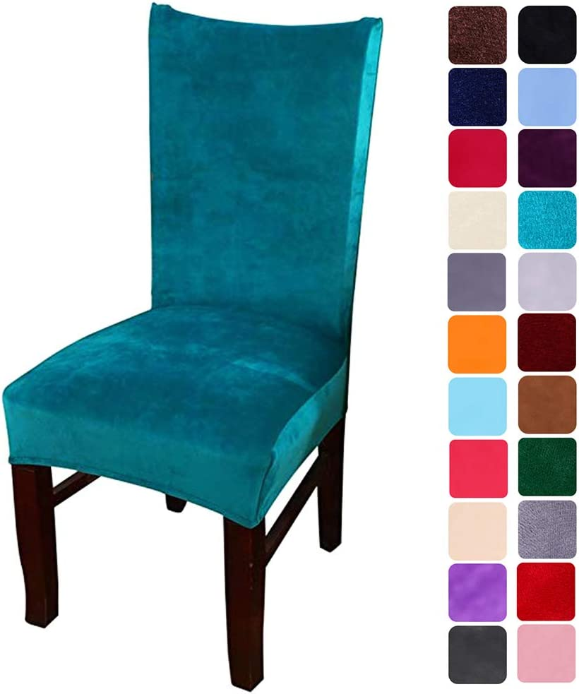 smiry Velvet Stretch Dining Room Chair Covers Soft Removable Dining Chair Slipcovers Set of 4, Peacock Green