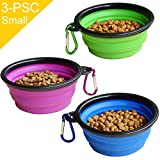 STARUBY Collapsible Dog Bowl - 3-Pack Foldable Pet Travel Bowl - Portable Cat Feeding Dish - for Outdoor Camping Pet Food Water Bowl Green Blue and Purple