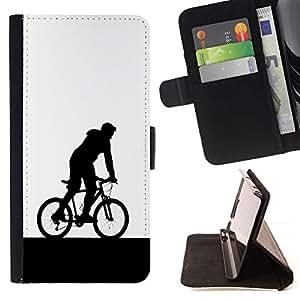 Momo Phone Case / Flip Funda de Cuero Case Cover - Hombre de la bicicleta de la capilla de Arte del símbolo de Eco Deportes - HTC Desire 626