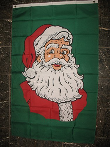 Double Face Santa - 3x5 Merry Christmas Santa Claus Face Vertical SuperPoly Flag 3'x5' House Banner Super Polyester Nylon Double Stitched Fade Resistant Premium Quality