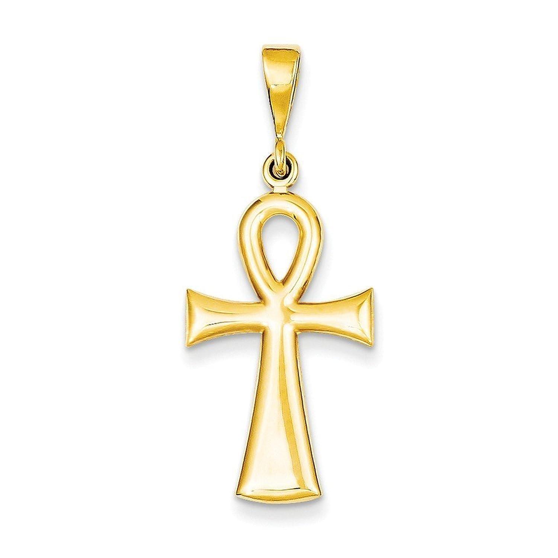 14k Gold Egyptian Ankh Cross Pendant (1.42 in x 0.59 in)