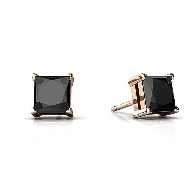 3de922be4 Amazon.com: 14kt Rose Gold Black Onyx 5mm Square Princess Cut Stud Earrings:  Jewelry