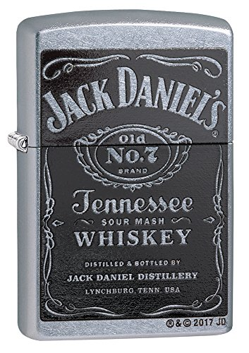 Zippo Jack Daniel's Tennessee Whiskey Label Pocket Lighter, Street Chrome