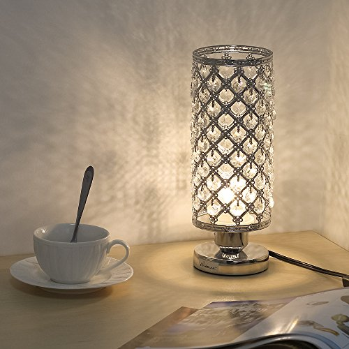 HAITRAL Crystal Table Lamp Decorative Room Reading Lamp for Bedroom, Living room Silver