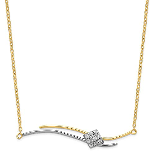 ICE CARATS 925 Sterling Silver Rose Gold Plated Cubic Zirconia Cz 1 Inch Extension Bar Chain Necklace Pendant Charm Journey Geometric Shape Fine Jewelry Gifts for Women for Her
