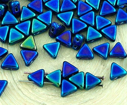 60pcs Metallic Blue Purple Rainbow Iris Kheops Par Puca Flat Triangle 2 Two Hole Czech Glass Beads 6mm