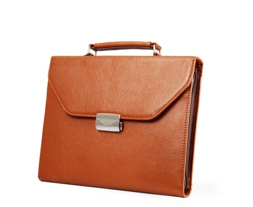 Executive Leather Attache-Style Padfolio Briefcase for A4...