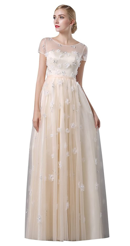 Drasawee Women's Cap Sleeve Petal Beaded Evening Bridemaid Dress Champagne