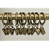 Urbanest Set of 40 1-inch Metal Curtain Rings with Clips and Eyelets, Fits Up To 3/4 Inch Rod, Antique Gold