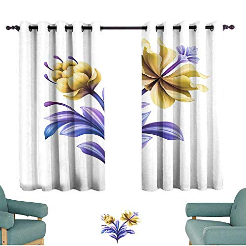 Privacy curtain abstract flower botanical illustration decorative tulip rose lily curly leaves vintage acanthus clip art element isolated on white background Darkening and Thermal Insulating ()