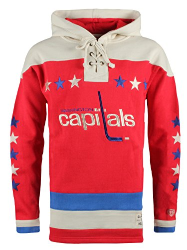 Hockey Old Time Gear (Old Time Hockey NHL Washington Capitals Men's Alternate Lacer Heavyweight Hoodie, 3X-Large, Red)