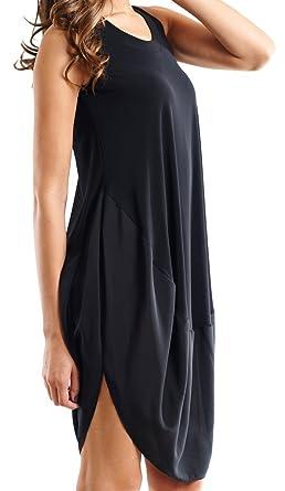 Joseph Ribkoff Black U Neckline Loose Flowing Tunic Dress Style 153265 - Size 10