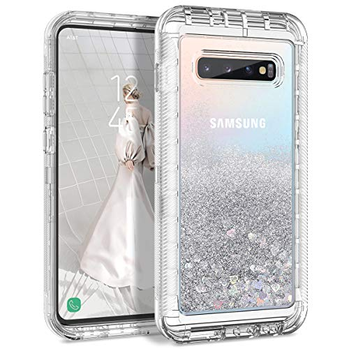 Dexnor Compatible with Samsung Galaxy S10 Case Hard Clear Glitter 3D Liquid Quicksand Bumper Cover TPU Silicone + PC 3 Layer Shockproof Protective Heavy Duty Defender Cute for Girls/Women - Silver ()