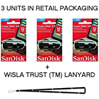 SanDisk Cruzer Glide 32GB (3 pack) SDCZ600-032G USB 3.0 Flash Drive Jump Drive Pen Drive SDCZ600-032G - Three Pack + Bonus Wisla Trust (TM) landyard