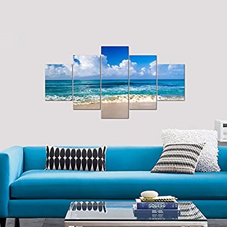 Pyradecor Seaside Large Canvas Prints Wall Art Ocean Sea Beach Landscape Pictures Paintings for Bathroom Home Decorations 5 Piece Modern Stretched and Framed Seascape Giclee Artwork L