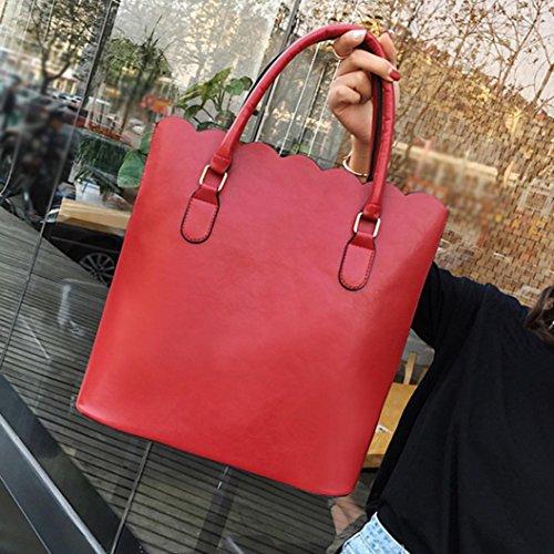 Rakkiss Girls Vintage Lace Bag Women Leather Shoulder Bag Handbag Pure Color Bag Tote Shop Bag (One_Size, Red)
