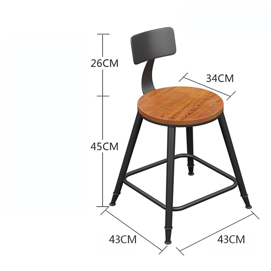 FEI Sedia da Bar Sedia da Colazione Famiglia Sedia in Ferro battuto Stile Nordico Giardino in Legno Marronee (Dimensioni   Height 45cm)