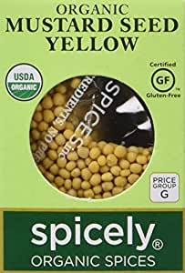 Spicely Organic Mustard Seeds Yellow Whole 0.45 Ounce ecoBox Certified Gluten Free