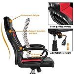 Yaheetech Gaming Chair High Back Ergonomic Racing Chair Office Reclining Chair Swivel Chair Red