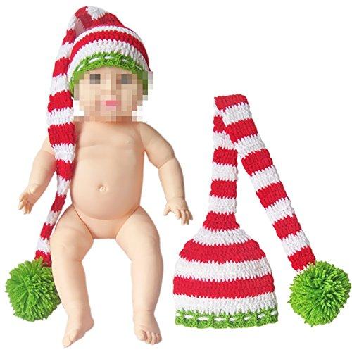 Freebily Unisex Baby Handmade Wool Crochet Long Tail Christmas Hat