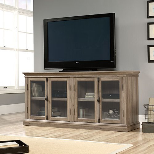 Sauder 414721 Salt Oak Finish Barrister Lane Storage Credenza - Glass Oak Sideboard