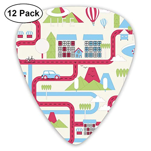 Guitar Picks 12-Pack,Cartoon Downtown Cars Ships And Bicycles Balloons Shops Apartments Mountains Life -