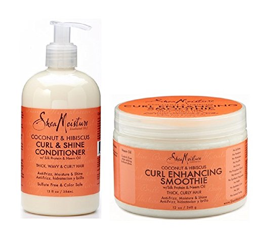 Shea Moisture Coconut and Hibiscus Combination Pack – 13 oz. Curl & Shine Conditioner & 12 oz. Curl Enhancing (Gentle Shine Enhancing Shampoo)