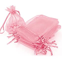 "AKStore 100Pcs 2.8""x3.6""(7x9cm)Sheer Drawstring Organza Jewelry Pouches Wedding Party Christmas Favor Gift Bags (Pink)"