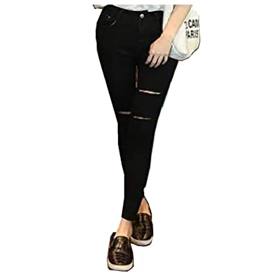 f7b9f38c47 Kehen Teens Girl Women s Stylish Ripped Hole Skinny Jeans Stretch Denim  Fabric Pants at Amazon Women s Clothing store