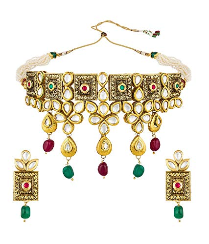 8c411fa8ccdd3 Buy The Luxor Antique Gold Plated Choker Necklace Kundan Jewellery ...