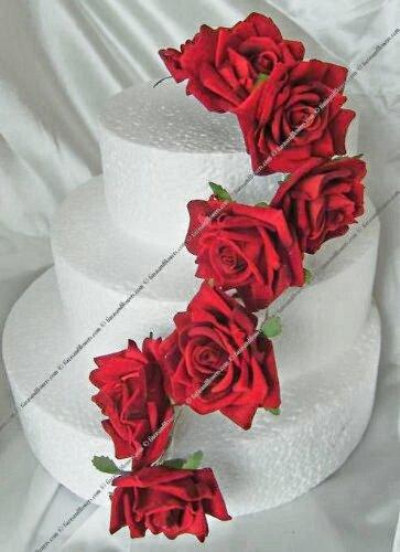 Red Velvet Artificial Roses Flowers Wedding Cake Topper Amazon