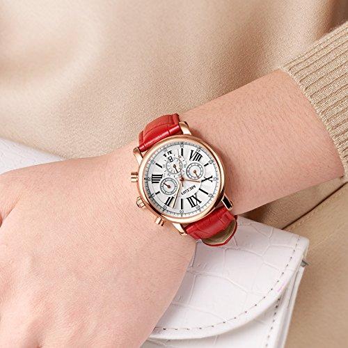 MEGIR Watches for Women Quartz Sport Chronograph Red Leather Strap Stylish Dress Wrist Watch by MEGIR (Image #3)