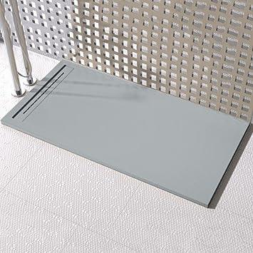 Olimpo duchas - Plato de ducha pizarra Rejilla lateral gris ...