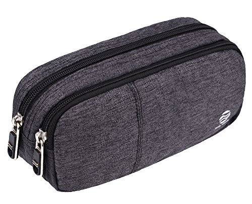 Pencil Case Large Capacity Pencil Bag Pouch with  Durable Double Zipper by Only Warm for School office  Heather Grey by ONLY WARM