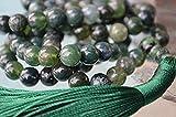 Heart Chakra Green Moss Agate Japa Mala 8mm 108 Bead Necklace Unconditional love Understanding Abundance Forgiveness Trust Compassion Child birth - USA seller