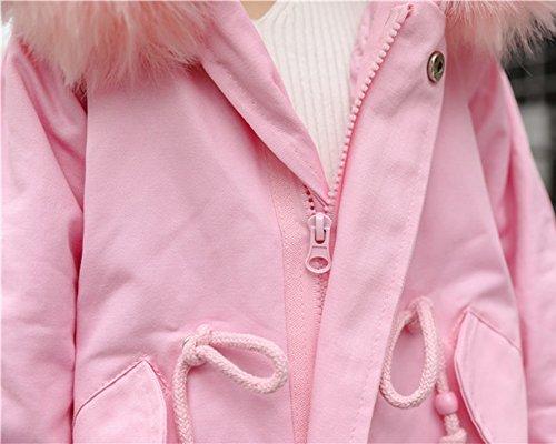 Piel de Jacket Mangas Sintética Rosa con Niñas Abrigo Chaqueta Coat Largas Parka Trench Capucha 8qnIXZ