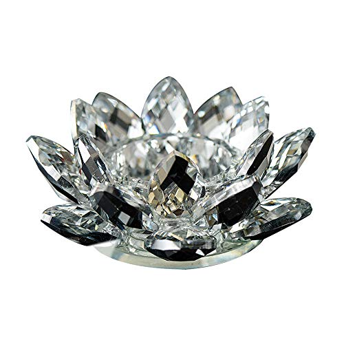 SUJING Crystal Hue Reflection Crystal Lotus Flower Sparkle Crystal Lotus Flower Candle Tealight Candle Holder Buddhist Candlestick (White) ()