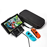 [2 IN 1] Nintendo Switch Case and Stand, Otium Carry Case with 20 Game Cartridge, Nintendo Switch Stand Compact Playstand, Foldable Multi Angle Stand, Raised for Charging Port Access