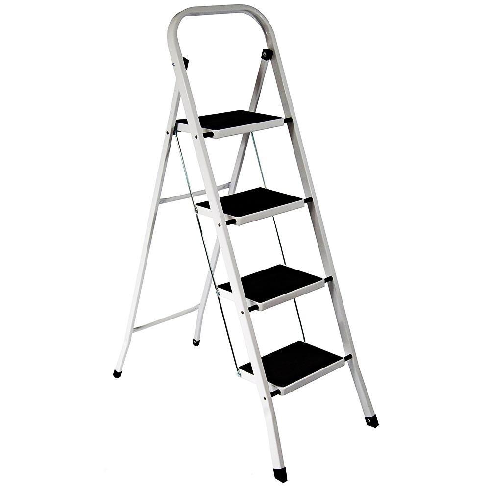 FOLDABLE 2, 3 U0026 4 STEP LADDER NON SLIP TREAD STEPLADDER SAFETY ALUMINIUM  KITCHEN (4 TREAD): Amazon.co.uk: Kitchen U0026 Home