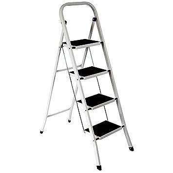 FOLDABLE 2, 3 U0026 4 STEP LADDER NON SLIP TREAD STEPLADDER SAFETY ALUMINIUM  KITCHEN (