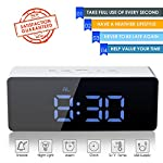 oenbopo Digital LED Alarm Clock, Portable Mirror Alarm Clock Large LED Display with Snooze Time Temperature Function for Bedroom, Office, Travel - Battery Powered & USB Powered