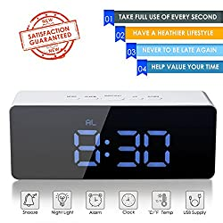Digital LED Alarm Clock, Oenbopo Portable Mirror Alarm Clock Large LED Display with Snooze Time Temperature Function for Bedroom, Office, Travel - Battery Powered & USB Powered (Blue Digital)