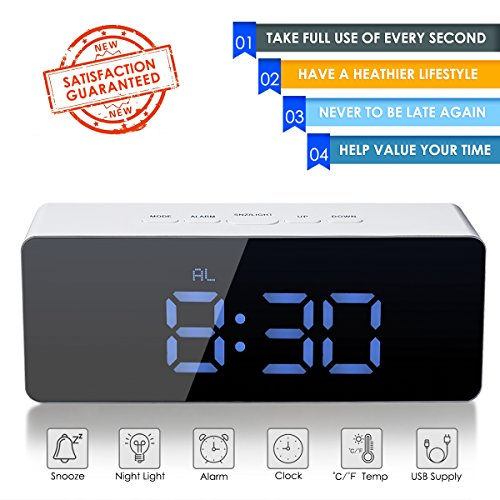 oenbopo Digital LED Alarm Clock, Portable Mirror Alarm Clock Large LED Display with Snooze Time Temperature Function for Bedroom, Office, Travel - Battery Powered & USB Powered (Blue Digital)
