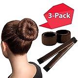 Brown Magic Bun Makers 3-PACK | The NEW way to Donut Your Hair | Perfect Hair Bun Maker | Hair Donuts for Updos | Easy Bun Hair Tool | Kids Ballerina Bun | Bun Shaper | Bun Hair Tool | Hair Bun Donut
