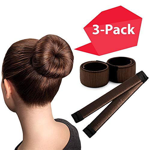 Brown Magic Bun Makers 3 Pieces, Hawwwy Hair Bun Maker, Donut Hair, Perfect Hair Bun Maker, Hair Donuts for Updos, Easy Bun Hair Tool, Kids Ballerina Bun, Bun Shaper, Bun Hair Tool, Hair Bun Donut (Diy Hair Updos For Medium Length Hair)
