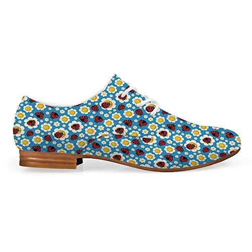 Ladybugs Comfortable Leather Shoes for Women,Abstract Daisies with Dotted Bugs Insects Ornamental Blooming Nature Inspirations for Women Girls,US 6