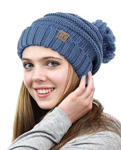 NYFASHION101 Pom Pom Oversized Baggy Slouchy Thick Winter Beanie Hat - Dark Denim