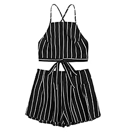 VEMOW Tops for Women Ladies School Girls 2018 Spring Summer UK New Sexy Cute Daily Beach Evening Party Polyester Black White Floral Applique Bandage Strap Crop Cami Top with Shorts Set