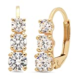 2.60 CT 3 Stone ROUND CUT CZ Earrings 14K Yellow Gold Past Present Future Leverback