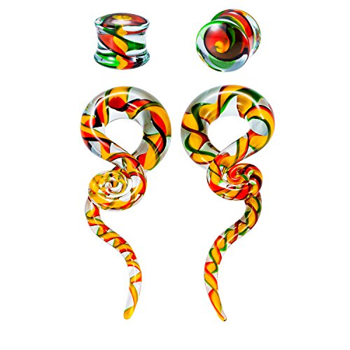 12 Mm Ribbon (12mm Ribbon Rasta Flag Teardrop Glass Spiral Taper (1/2